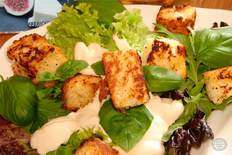 A Blue Sheese Dressing with Croutons, made with our Original Creamy Sheese