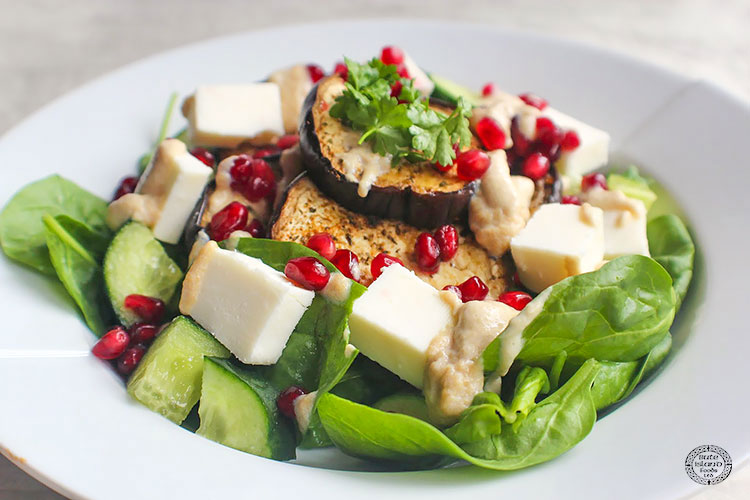 A Harissa roasted aubergine & Greek Sheese salad recipe idea