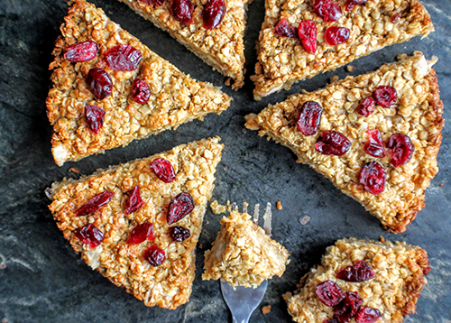 An apple, Wensleydale and oat slice made using our Wensleydale with Cranberry Sheese
